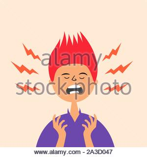 The guy is experiencing a stressful situation. Hysterical condition. Panic. Nerves on edge. Vector editable illustration - Stock Photo