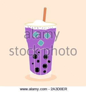 Bubble tea with tapioca with ice. Milk smoothie. Cocktail with a straw. Vector editable illustration - Stock Photo