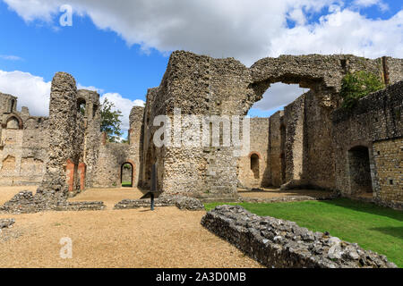 Wolvesey Castle, also Wolvesey Palace or the Old Bishop's Palace, castle ruins in sunshine, Winchester, Hampshire, England - Stock Photo
