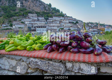 Vegetable market in front of the historic Old Town of Berat, UNESCO World Heritage Site