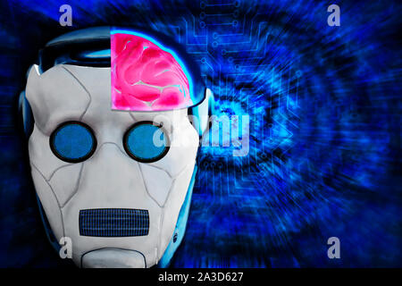 Cyborg artificial intelligence concept illustration. Closeup of robot head with cutoff of human like brain on abstract futuristic background. Machine - Stock Photo