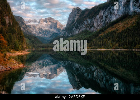Lake Gosau, Upper Austria, Gmunden, Austria, Europe - Stock Photo