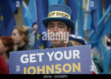 LONDON, UNITED KINGDOM. 07th Oct 2019, Steve Bray, Mr Stop Brexit at the Extinction Rebellion protest in Westminster, to highlight climate change. © Martin Foskett/Knelstrom Ltd/Alamy Live News - Stock Photo
