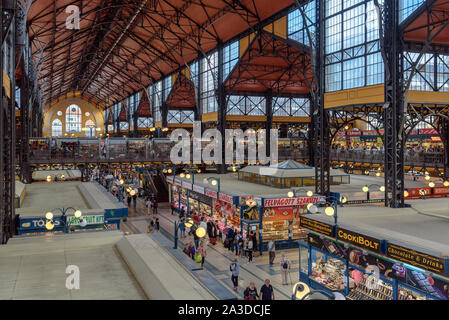 Seeing both levels of the Great Market Hall of Budapest, Hungary - Stock Photo