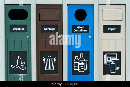 Trash segregation, waste sorting bins, Canada - Stock Photo