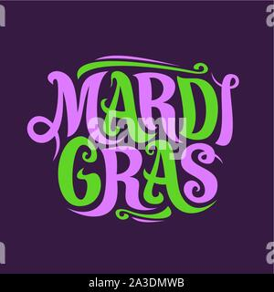 Vector poster for Mardi Gras Carnival, original decorative font for festive purple and green letters mardi gras on dark background, handwritten brush - Stock Photo