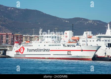 Algeciras port, Spain; October/06/2019; M/s Ciudad de Malaga of Transmediterranea shipping company moored at Algeciras port, Spain. - Stock Photo