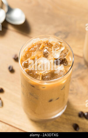 Homemade Iced Coffe with Almond MIlk in a Glass - Stock Photo