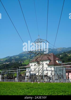 Umspannwerk (Bahnstrom) in Steinen im Schweizer Kanton Schwyz - Stock Photo