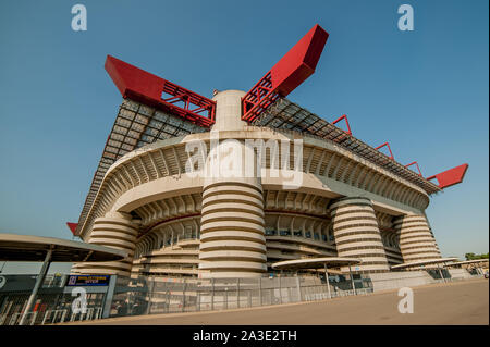 Milan Italy May 26th 2017: Outside the Giuseppe Meazza stadium, also known as the San Siro stadium, is one of the most internationally known stadiums - Stock Photo