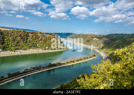 View to the river rhine from famous lorely hotspot in germany - Stock Photo