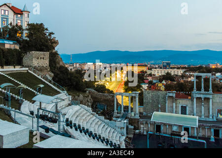 PLOVDIV, BULGARIA  - AUGUST 5, 2019: Sunset view of Ancient Roman theater of Philippopolis in city of Plovdiv, Bulgaria - Stock Photo