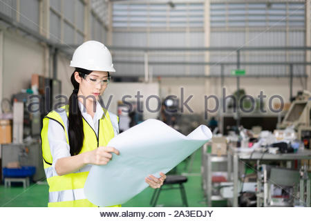 Female Industrial Engineers Look at Project Blueprints - Stock Photo