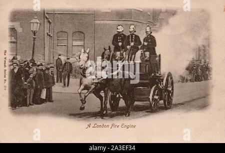 Fire Engine, London England, old postcard. - Stock Photo