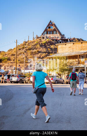 Tourists walking down the street at Oatman, Arizona. - Stock Photo