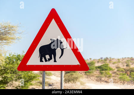 Traffic sign with elephant warning, Namibia, Africa - Stock Photo