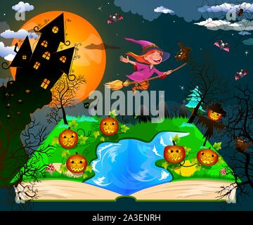 Night on Halloween. Joyful little witch flying on a broomstick in the night sky, against the backdrop of a castle, a pumpkin and trees, surrounded by - Stock Photo