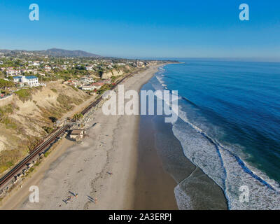 Aerial view of San Clemente coastline town and beach, Orange County, California, USA. Travel destination South West Coast. Famous beach for surfer. - Stock Photo