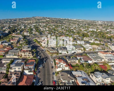 Aerial view of San Clemente coastline town, Orange County, California, USA. Travel destination South West Coast. Famous beach for surfer. - Stock Photo