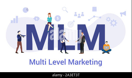 mlm multi level marketing concept with big word or text and team people with modern flat style - vector illustration - Stock Photo