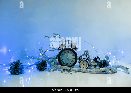 Happy New Years 2019. Winter celebration with alarm clock. Abstract Christmas composition. - Stock Photo