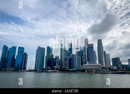 SINGAPORE-MAY 19, 2019 : Cityscape Singapore modern and financial city in Asia. Marina bay landmark of Singapore. Landscape of business building and - Stock Photo