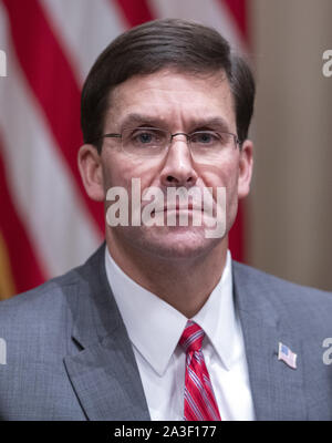 Washington, United States. 07th Oct, 2019. United States Secretary of Defense Dr. Mark T. Esper participates in a briefing with US President Donald J. Trump and senior military leaders in the Cabinet Room of the White House in Washington, DC on Monday, October 7, 2019. Photo by Ron Sachs/UPI Credit: UPI/Alamy Live News - Stock Photo