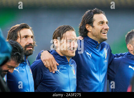 Fürth, Germany, October 07, 2019 Francesco TOTTI, ITA All Stars Nr. 10 Luca TONI, ITA All Stars Nr. 9 Andrea PIRLO, ITA All Stars Nr. 21  GERMANY ALL-STARS - ITALY AZZURRI   ALL STARS 3-3, German Soccer League , Fürth, Germany,  October 07, 2019  Season 2019/2020 © Peter Schatz / Alamy Live News - Stock Photo