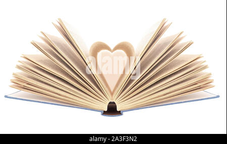 Book with opened pages in shape of heart, isolated on white background. Bibliophilia. - Stock Photo