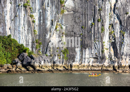 Thien Cung Cave sprawling natural grotto with intricate stalactite & stalagmite formations in Halong Bay Vietnam Indochina - Stock Photo