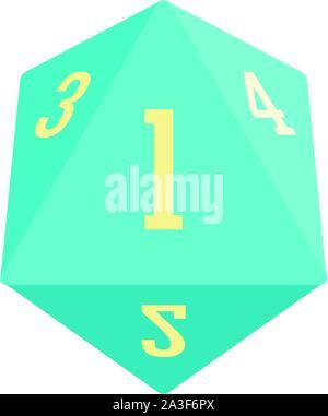 Dice polygonal number icon. Flat illustration of dice polygonal number vector icon for web design - Stock Photo