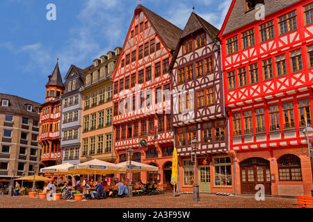 Half timbered buildings on Römerberg in the old town of Frankfurt am Main, Hesse, Germany. - Stock Photo