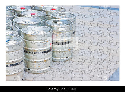 Beer brewing - concept image in puzzle shape - Stock Photo