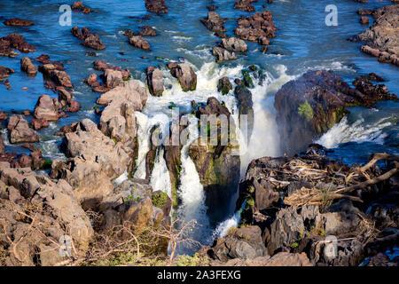 Aerial view of Epupa falls, Kaokoland, Namibia, Africa