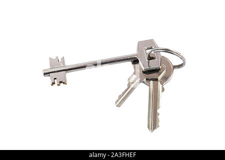 Bunch of keys with metal ring on white background - Stock Photo