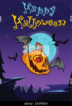 Cartoon Halloween flying pumpkin isolated on dark night background with a big full moon behind. Vector banner or poster for party - Stock Photo
