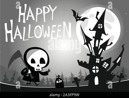 Death with a scythe and haunted house on night background. Vector  illustration. Black and white - Stock Photo