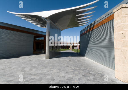 A sculpture designed as an eagle's pair of wings of the Wolf Blass trademark at the main winery visitor's centre in the Barossa Valley wine region in - Stock Photo