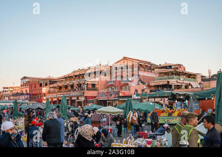 Marrakech, Morocco - 15 JAN 2019: Jemma El Fna square in Marrakech, Morocco