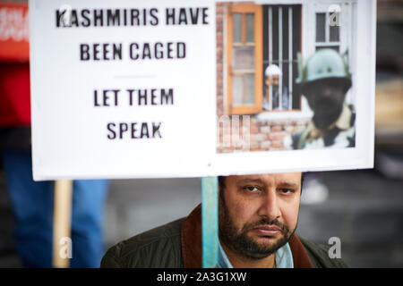 Cardiff Wales,  Kashmir supporters on the steps of National Assembly for Wales - Stock Photo