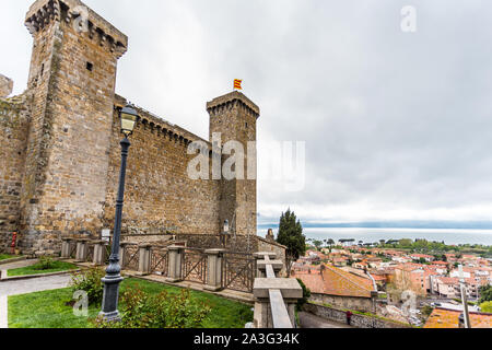 The medieval castle of Bolsena on Bolsena Lake, Lazio, italy. - Stock Photo