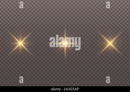 Set of abstract glowing stars isolated on a transparent dark background. Golden glare. Christmas elements. Light effect. Vector illustration. EPS 10 - Stock Photo