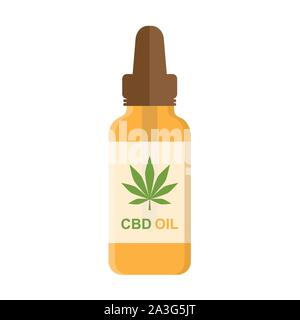 cbd oil phial with cannabis leaf isolated on white background vector illustration EPS10 - Stock Photo