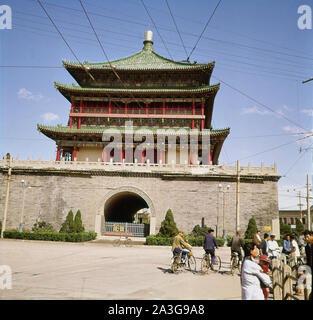 1960s, historical, view of the Bell tower, Xi'an, China. Built in 1384 the tower is a symbol of the city and is the largest of the many bell towers left from ancient china. - Stock Photo