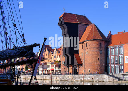 Old Crane - Impressions from Gdańsk (Danzig in German) a port city on the Baltic coast of Poland - Stock Photo