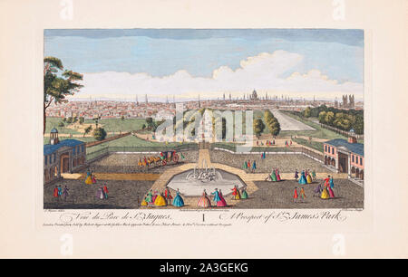 A prospect of St. James's Park, London, England.  After a print dated 1752 from a work by Jacques Rigaud.  Published by Robert Sayer. Later colourization. - Stock Photo
