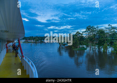 A  two-day-riverboat trip from Manaus to Tefé on the Amazonas River or Rio Solimoes, end of rainy season, The Amazon, Brazil, Latin America - Stock Photo