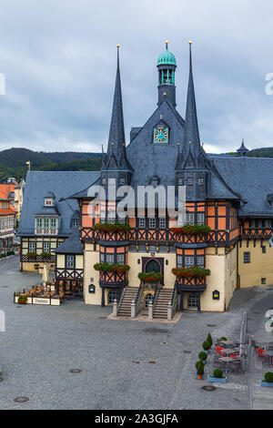 The famous Town Hall in Wernigerode. Wernigerode is a town in the district of Harz, Saxony-Anhalt, Germany.  Wernigerode is located southwest of Halbe - Stock Photo