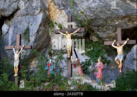 France, Var, Plan d'Aups Sainte Baume, Sainte Baume massif, calvary in front of the cave sanctuary of Sainte Marie-Madeleine (St. Mary Magdalene) - Stock Photo