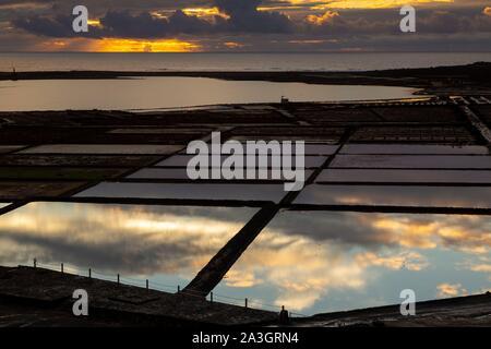 Spain, Canary Islands, Lanzarote Island, South-West Coast, las salinas de Janubio (salines de Janubio) - Stock Photo